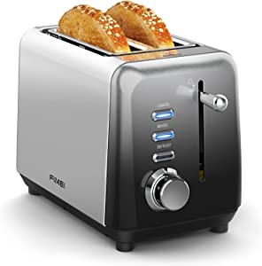 Toaster 2 Slice, FIMEI Stainless Steel Bagel Bread Toasters with Extra Wide Slots, Compact Bagel Toaster with 7 Browning Settings, Bagel/Defrost/Cancel Functions, Gradient Gray