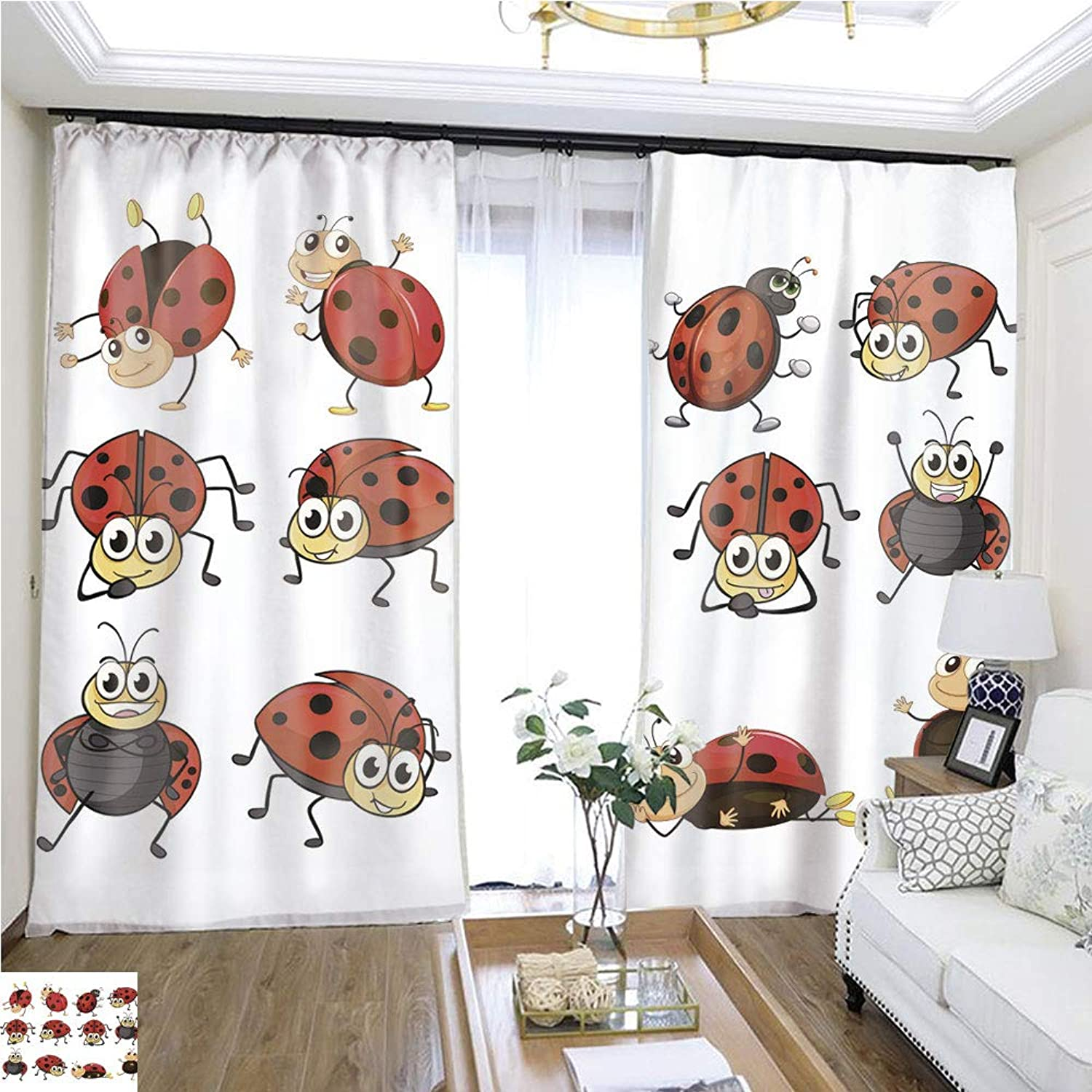 Air Port Screen Cute Ladybugs W96 x L84 Create Warmth in Winter Highprecision Curtains for bedrooms Living Rooms Kitchens etc.