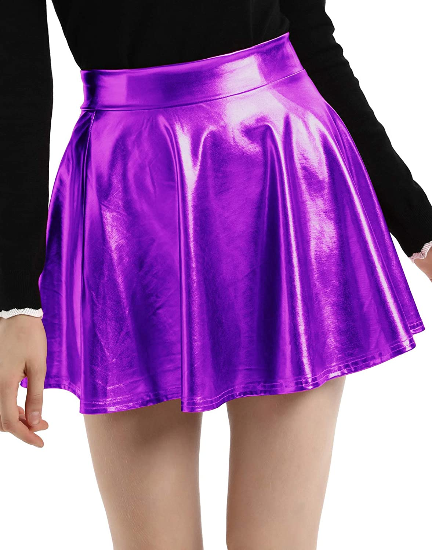 Kate Kasin Womens Shiny Metallic Skater Skirt Fashion Flared Mini Skirt