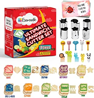 36pc Sandwich Cutter Set for Kids of All Ages - Turn Vegetables, Fruits, Cheese, and Cookie Into Fun Bites - Add to Bento Box and Lunch Box - Toddlers Boys & Girls -Safe & Easy to Use