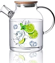 CnGlass Glass Teapot Stovetop Safe,1500ML/50.7oz Clear Glass Pitcher with Removable Filter Spout for Loose Leaf and Bloomi...