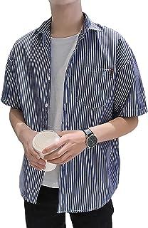 [Flapkash(フラップカッシュ)] チェストポケット ストライプ シャツ 半袖 カジュアル トップス 春 夏 メンズ