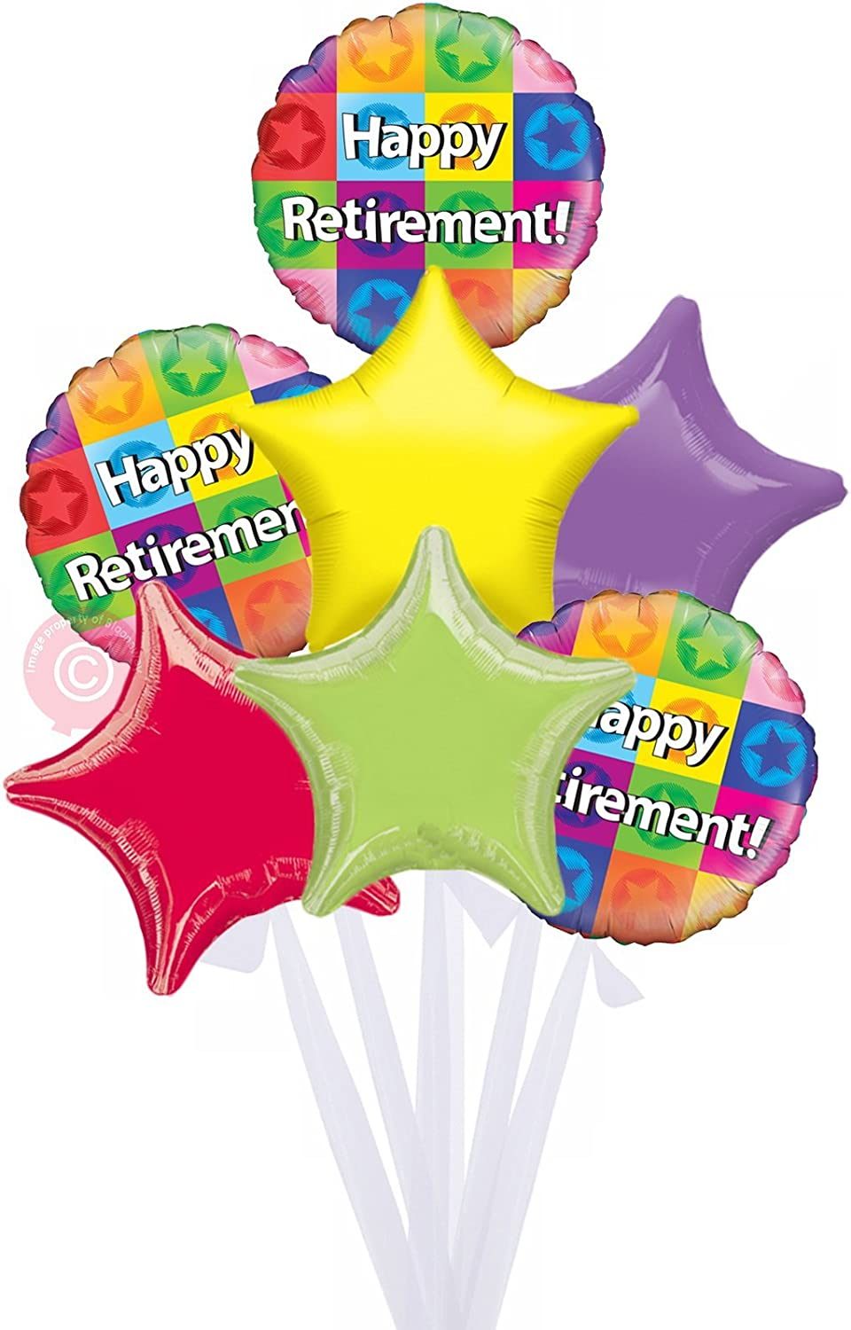 Happy Retirement  Inflated Retirement Goodbye Helium Balloon Delivered in a Box  Bigger Bouquet  7 Balloons  Bloonaway