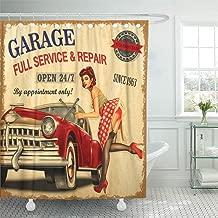 Emvency Decorative Shower Curtain Car Vintage Garage Retro Girl 1960S Mechanic Classic Signboard 1950S Aged 72