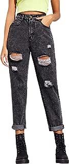 SweatyRocks Women's Ripped Boyfriend Jeans Distressed Denim Ankle Length Jeans
