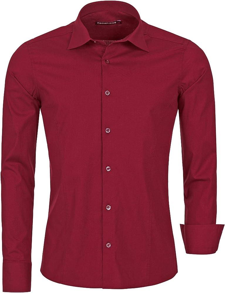 Redbridge, camicia per uomo, 97% cotone, 3% elastan, rosso bordeaux R-2111V