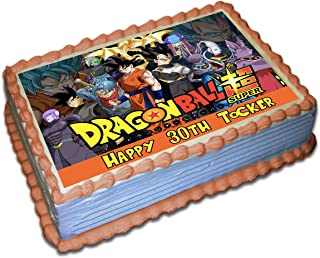 Dragon Ball Z Super Personalized Cake Toppers Icing Sugar Paper 1/4 8.5 x 11.5 Inches Sheet Edible Frosting Photo Birthday Cake Topper (Best Quality Printing)
