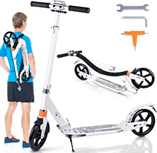 Mixhomic Scooters for Adults Teens, Kick Scooter with Dual Suspension, Adjustable T-Bar Handlebar, Folding Big Wheels Scoo...