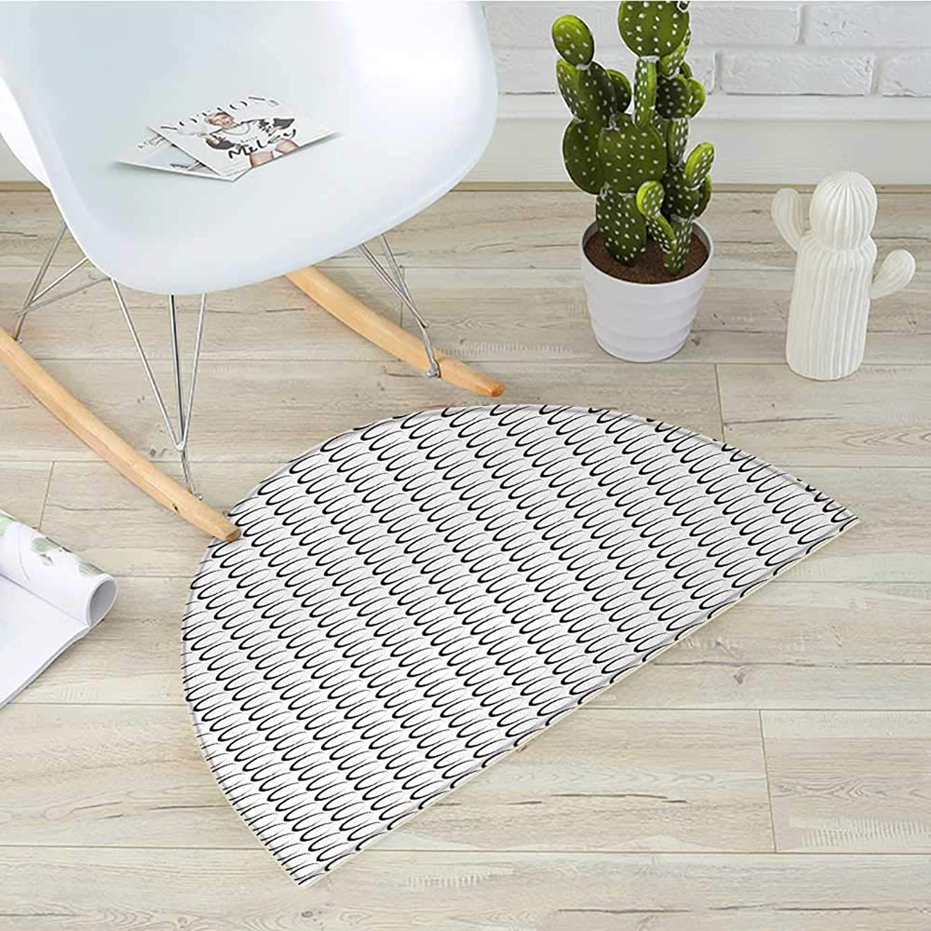 Black and White Semicircular CushionMinimal Pattern with Slanted Oval Shapes Elongated Elliptic Outlines Entry Door Mat H 51.1