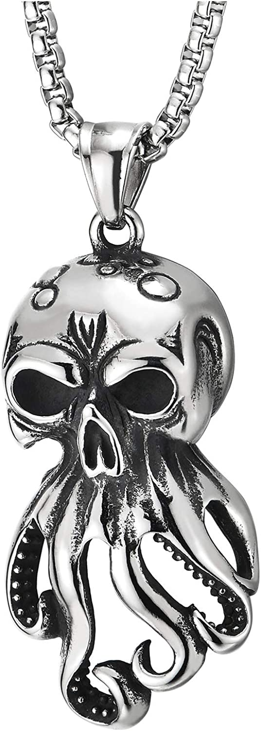 Steel Mens Womens Vintage Octopus Skull Pendant Necklace with 30 inches Wheat Chain, Gothic Punk