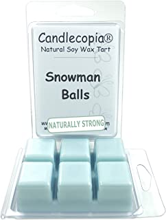 Candlecopia Snowman Balls Strongly Scented Hand Poured Vegan Wax Melts, 12 Scented Wax Cubes, 6.4 Ounces in 2 x 6-Packs