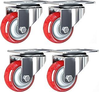 Rode bewegende zwenkwielen, zware roterende wielen voor meubels, trolleywielen in polyurethaan, zwenkwielen met plaat, dra...