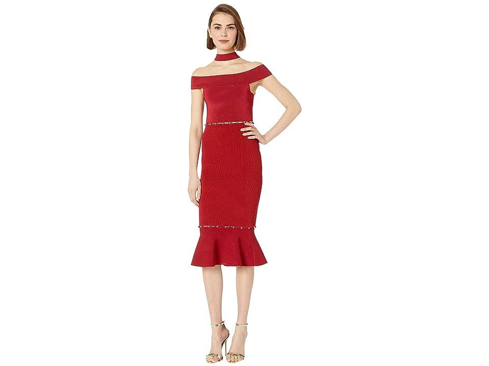 Bebe Lara Button Detail Cut Out Dress (Chili Pepper) Women