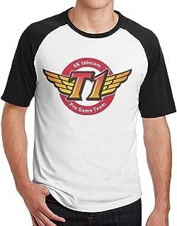 METGIE31SHIRT Men's LOL SKT SK Telecom T1 Short Sleeve Raglan Baseball T-Shirt, Athletic Shirts Casual Tees