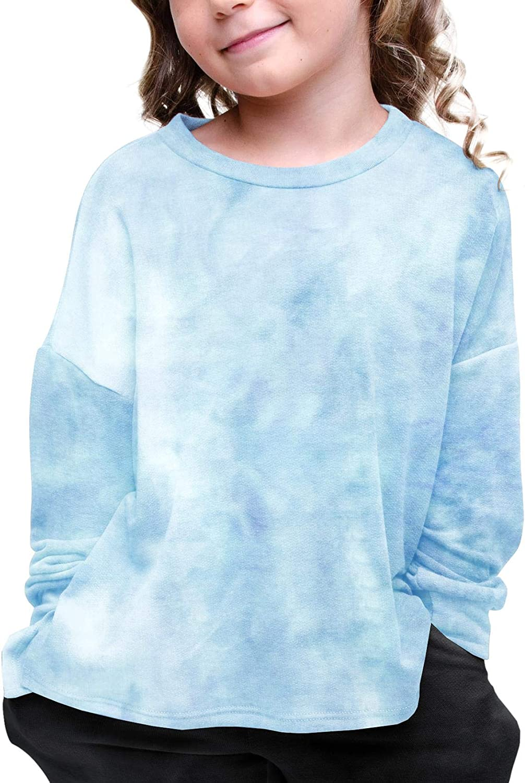 Makkrom Girls Tie Dye T-Shirt Long Sleeve Crewneck Casual Loose Soft Cotton Tee Tops