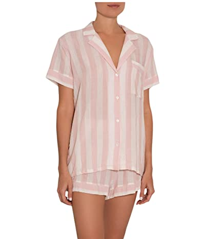 Eberjey Umbrella Stripes Woven Short PJ (Ballet Pink/Cloud) Women