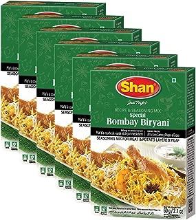 Shan Bundle - Pack of 6 ( Shan Bombay Biryani Recipe and Seasoning Mix- 60g Spice Powder, No Preservative, Tasty rice dish/tasty meat layered Pilaf ).
