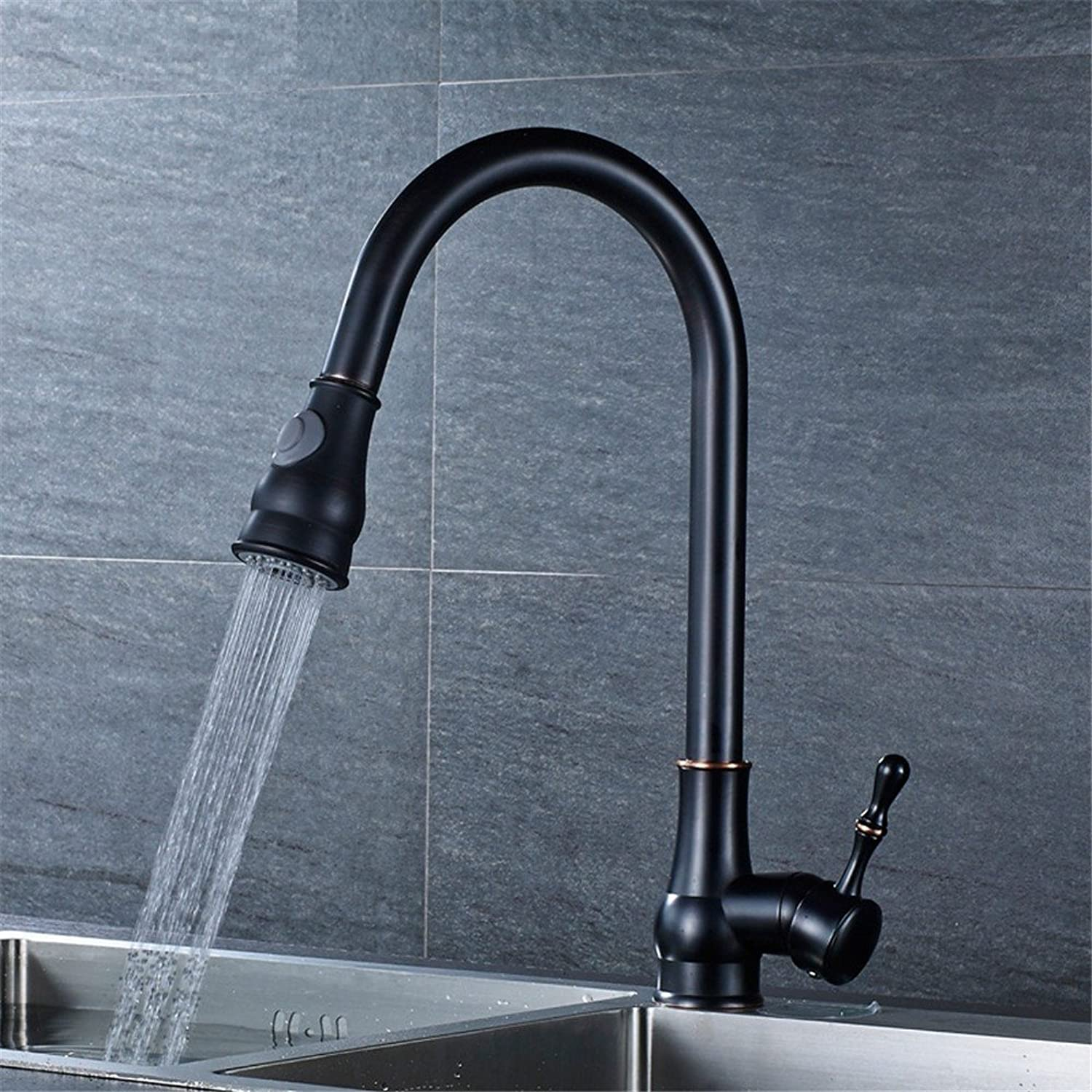 Kitchen Faucet Drawing Double Outlet Gourd redate Hot and Cold Black tap,C