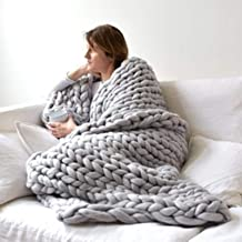 Warm Chunky Knitted Blanket Wool Thick Line Yarn Soft Throw Home Decor Throws