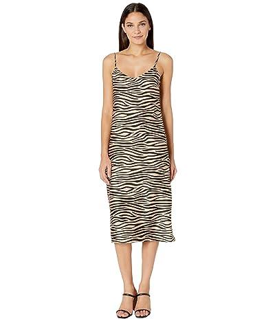 BB Dakota Slip Service Zebra Print Satin Slip Dress (Light Camel) Women
