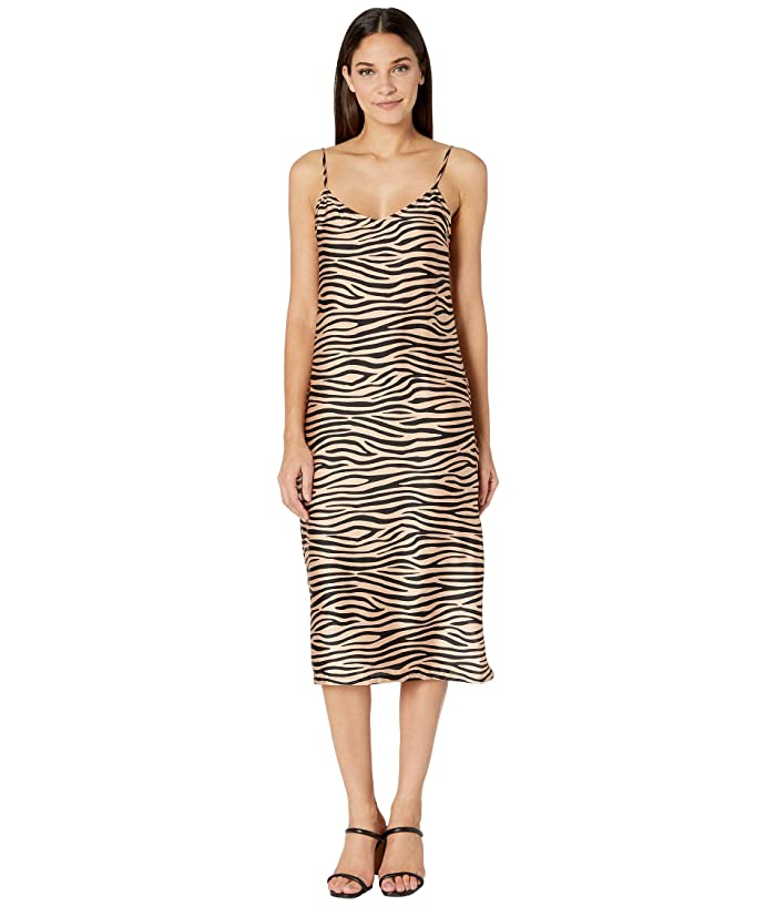 BB Dakota  Slip Service Zebra Print Satin Slip Dress (Light Camel) Womens Dress