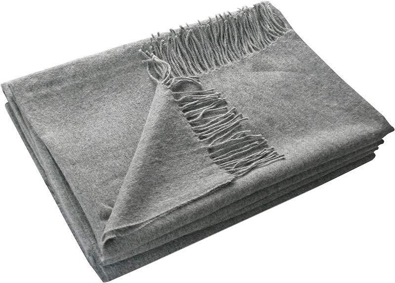 100 Baby Alpaca Woven Blanket Gray