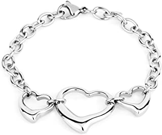 ELYA Jewelry Womens Stainless Steel Triple Open Heart Cable Chain Charm Bracelet, 7-Inch, White