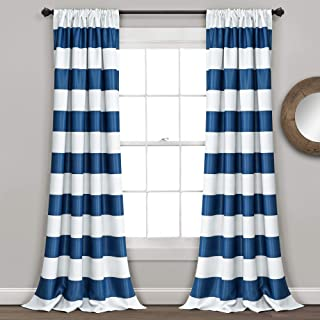 "Lush Decor Stripe Blackout Curtains | Room Darkening Window Panel Set (Pair), 84"" x 52"", Navy, 84 x 52-Inch"