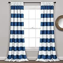 "Lush Decor Stripe Blackout Curtains | Room Darkening Window Panel Set (Pair), 84"" x 52"", Navy, 84 x 52-Inch"