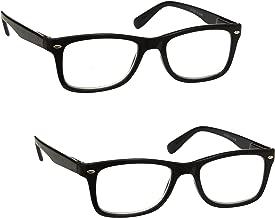 L'azienda Occhiali Da Lettura Nero Lettori Valore 2 Pacco Uomo Donna Cerniere Molla RR23-1 +2,00