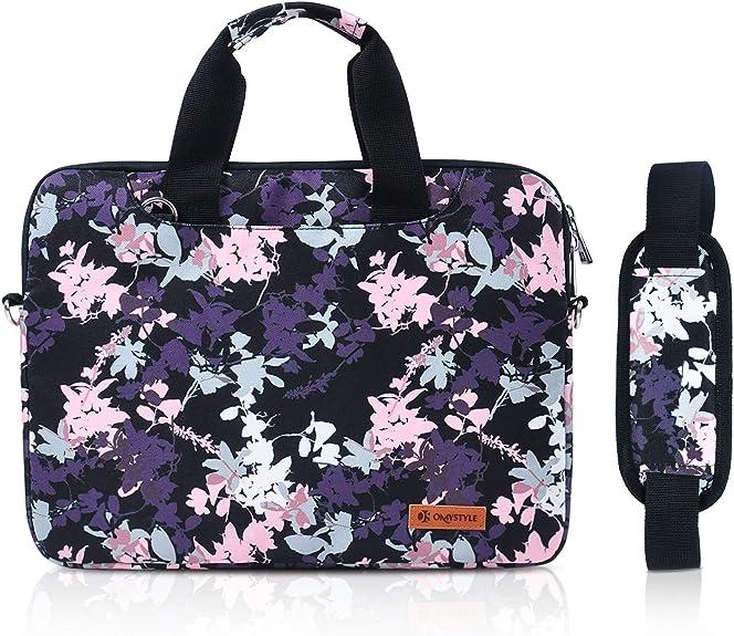 13.3 Inch Laptop Case, Tablet Shoulder Bag with Flower Pattern, Waterproof Carrying Briefcase Sleeve for Women&Men
