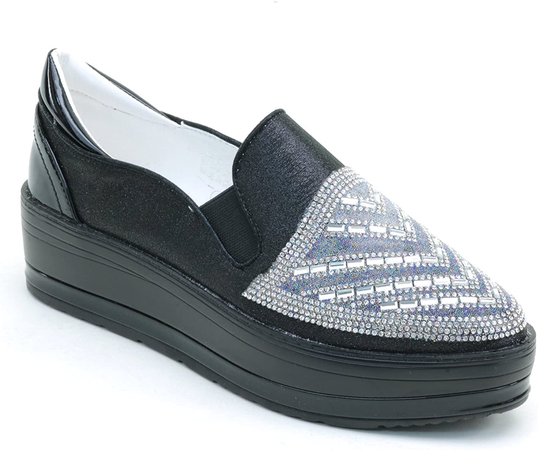Brieten New Women's Rhinestones Platform Loafers shoes
