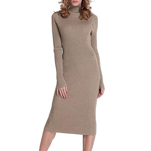 Rocorose Women s Turtleneck Ribbed Elbow Long Sleeve Knit Sweater Dress c358de9be