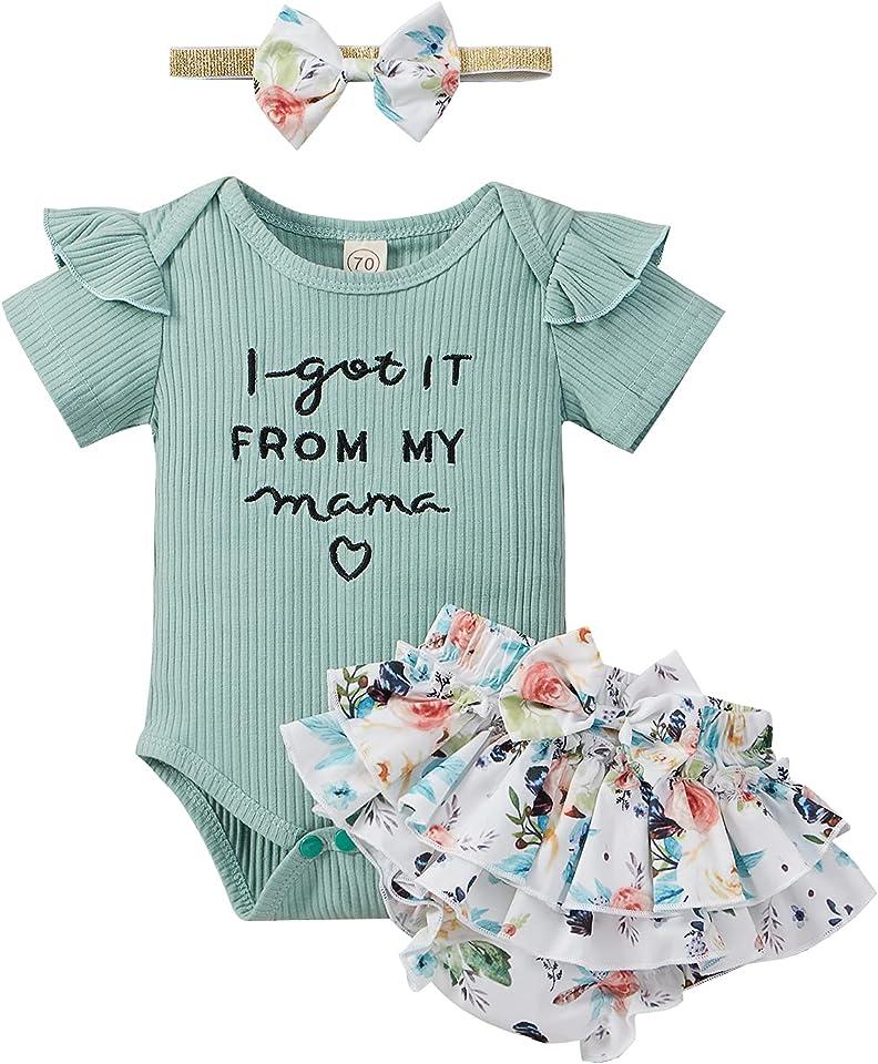 Baby Mädchen Kleidung Set Neugeborene Body Kurzarm Strampler Shorts Hose Stirnband Set Sommer Babykleidung Outfit