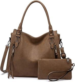 Realer Damen Handtaschen Groß Shopper Lederhandtasche Schultertasche Umhängetasche Geldbörse Hobo Damen Taschen Set 2pcs G...