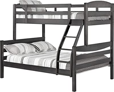 Benjara Twin Over Full Wooden Bunk Bed with Slatted Details, Gray