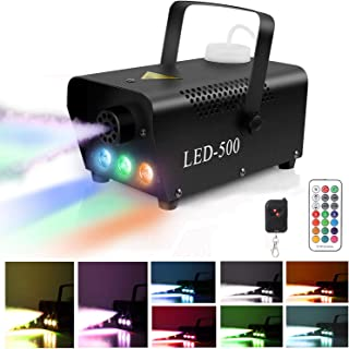 Fog Machine,Smoke Machine Fog UPGRADED Portable 500W Fog Machine with Lights Wireless Remote Control Colorful LED Light Effect for Holidays Parties Weddings Christmas Halloween