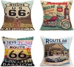 Hopyeer Vintage Rustic Pillow Covers Cotton Linen Retro California Route 66 Sign Guidepost Words Lettering Classic Motorcycles Biker Pattern Pillowcase Decor for Couch Bedroom 18x18,4Pcs (Route 66)
