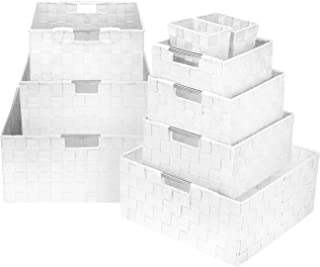Sorbus Storage Box Woven Basket Bin Container Tote Cube Organizer Set Stackable Storage Basket Woven Strap Shelf Organizer Built-in Carry Handles (White)