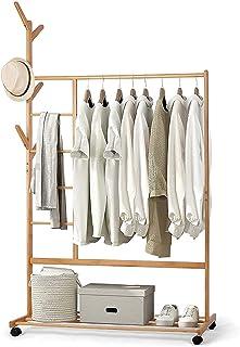 Porte-Manteau en Bambou , Portant Penderie Vêtements, avec Compartiments à Pantalon et Une Etagère de Rangement Inférieur...
