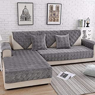 Deep Dream Sectional Sofa Covers, Velvet Sofa Slipcover Furniture Protector Anti-Slip Couch Covers for Dogs Cats Kids 28 x 82 Inch - Dark Grey (Sold by Piece/Not All Set)
