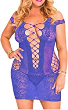 IYISS Women's Seamless Hollow Out Fishnet Chemise Standard N Plus