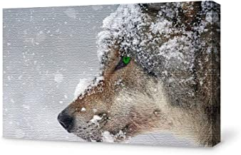 SIGNFORD Canvas Wall Art for Living Room,Bedroom Home Artwork Paintings Snow Mountain Forest Wolf Ready to Hang - 12x18 inches