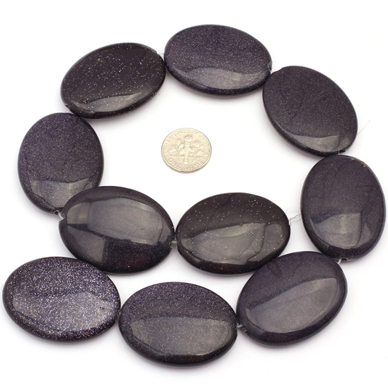 JOE FOREMAN 30x40mm Blue Sand Stone Semi Precious Gemstone Oval Loose Beads for Jewelry Making DIY Handmade Craft Supplies 15