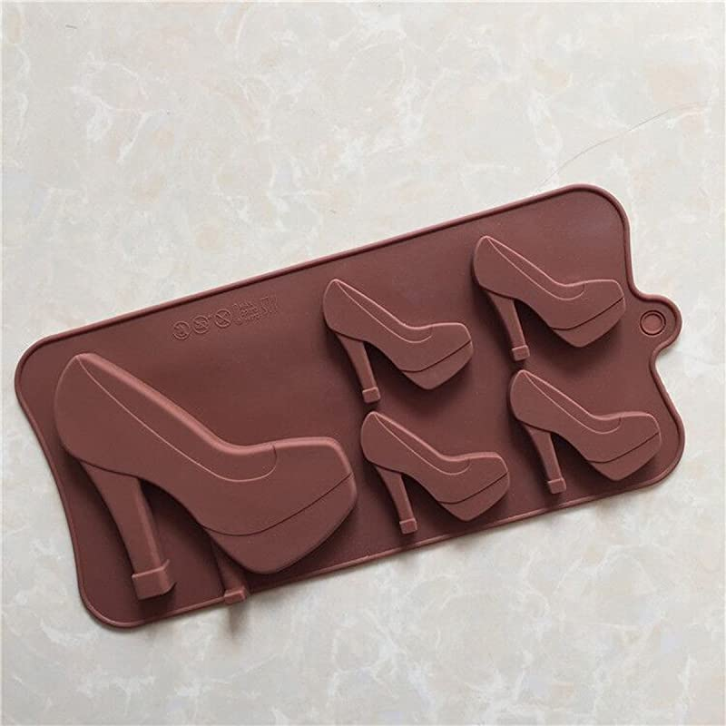 Longzang 5 Cavity High Heeled Shoes Silicone Mold For Candy Chocolate Cake Jelly Xj573