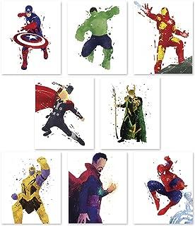 PGbureau Superhero Wall Poster- Avengers Infinity War Art Prints - Set of 8 - Hulk - Loki - Iron Man - Captain America - Thanos - Spiderman - Thor - Doctor Strange - Great Decor For Home - 8x10 by