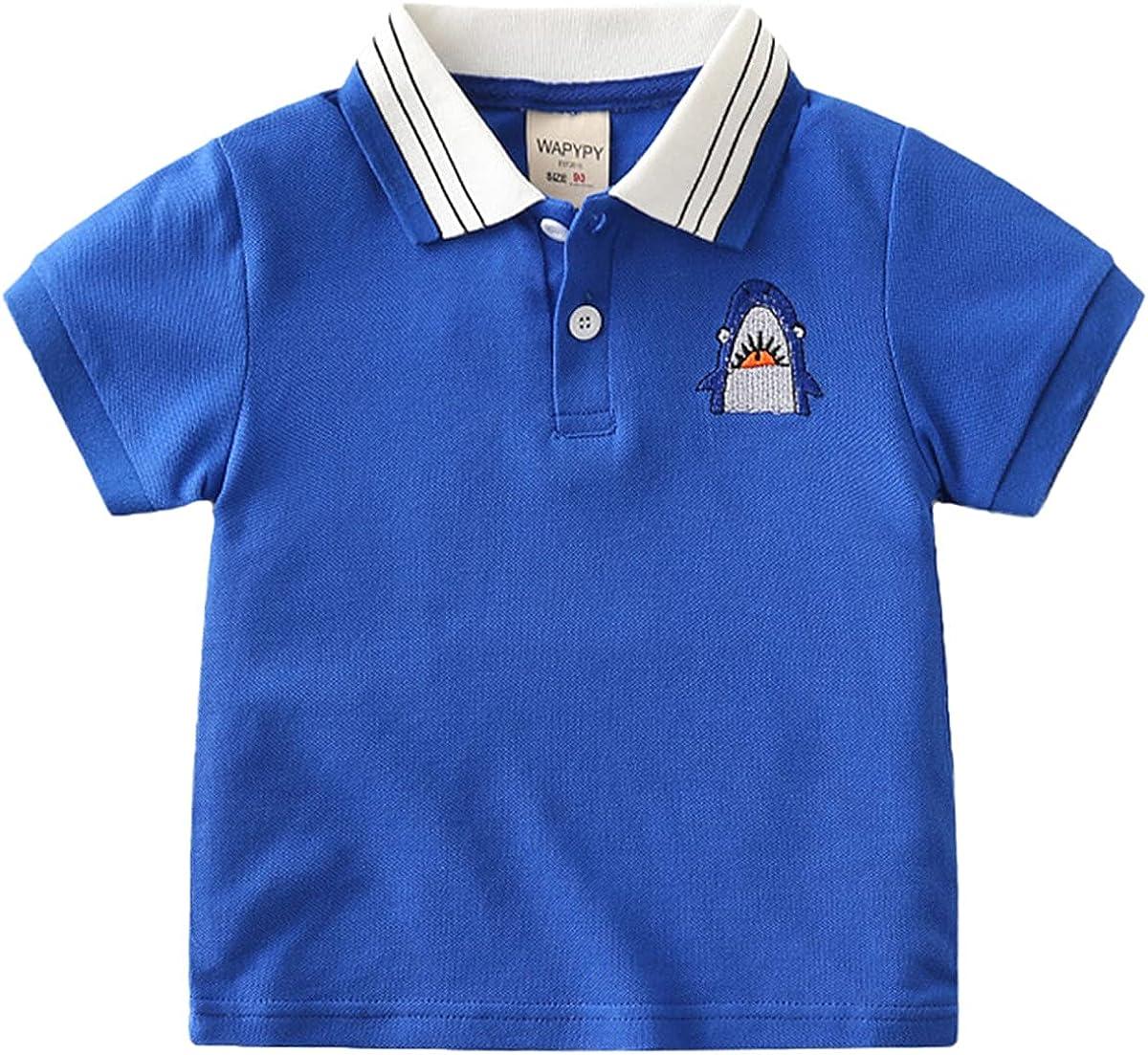 REWANGOING Little Boy Summer Short Sleeve Cartoon Cute Buttons Closure Polo T-Shirt Tops Blouse