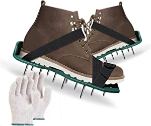 Lawn Aerator Shoes with 4 Adjustable Straps and Hard Buckles 2021 Strong-Flex Upgrade Aerator Lawn Tools fit All Sizes 2.4 inch Spikes w/Garden Gloves Easy Use for a Greener and Healthier Garden Yard