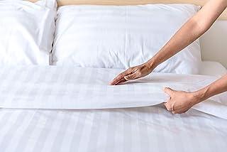 Sibiles Funda Nórdica Cutí Rayas Blanca Hotel Poli Algodón Percal 200 Hilos Pasamanos y Solapa (Cama 150), Polialgodón