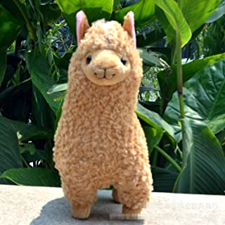 JEWH White Alpaca Llama Plush Toy Doll Animal Stuffed Animal Dolls Japanese Soft Plush Alpacasso for Kids Birthday Gifts(deep Yellow)